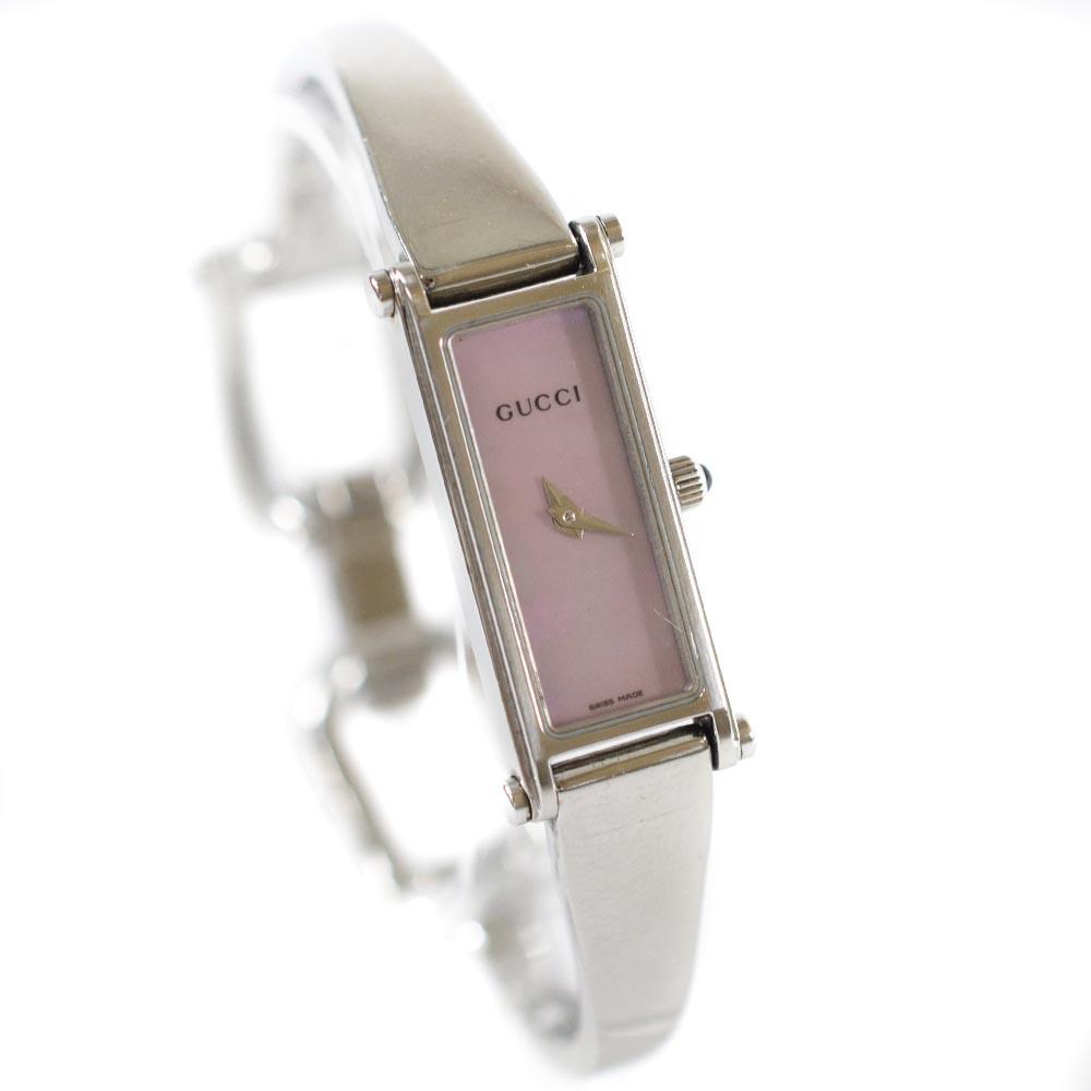 【中古】GUCCI グッチ バングルウォッチ 腕時計 レディース クオーツ ピンクシェル文字盤 シルバー 1500L