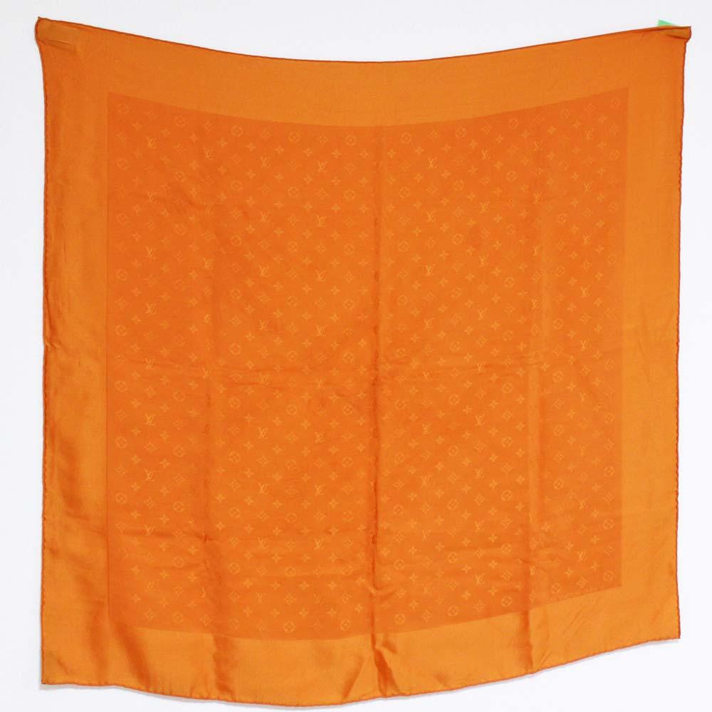 【中古】LOUIS VUITTON ルイ ヴィトン カレ・モナコ モノグラム スカーフ レディース オレンジ シルク M71149