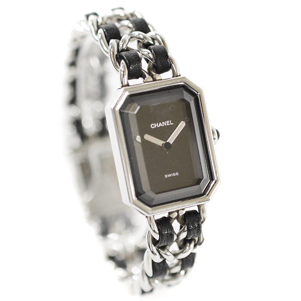 【中古】CHANEL シャネル プルミエールL 腕時計 レディース クオーツ ブラック文字盤 ブラック シルバー