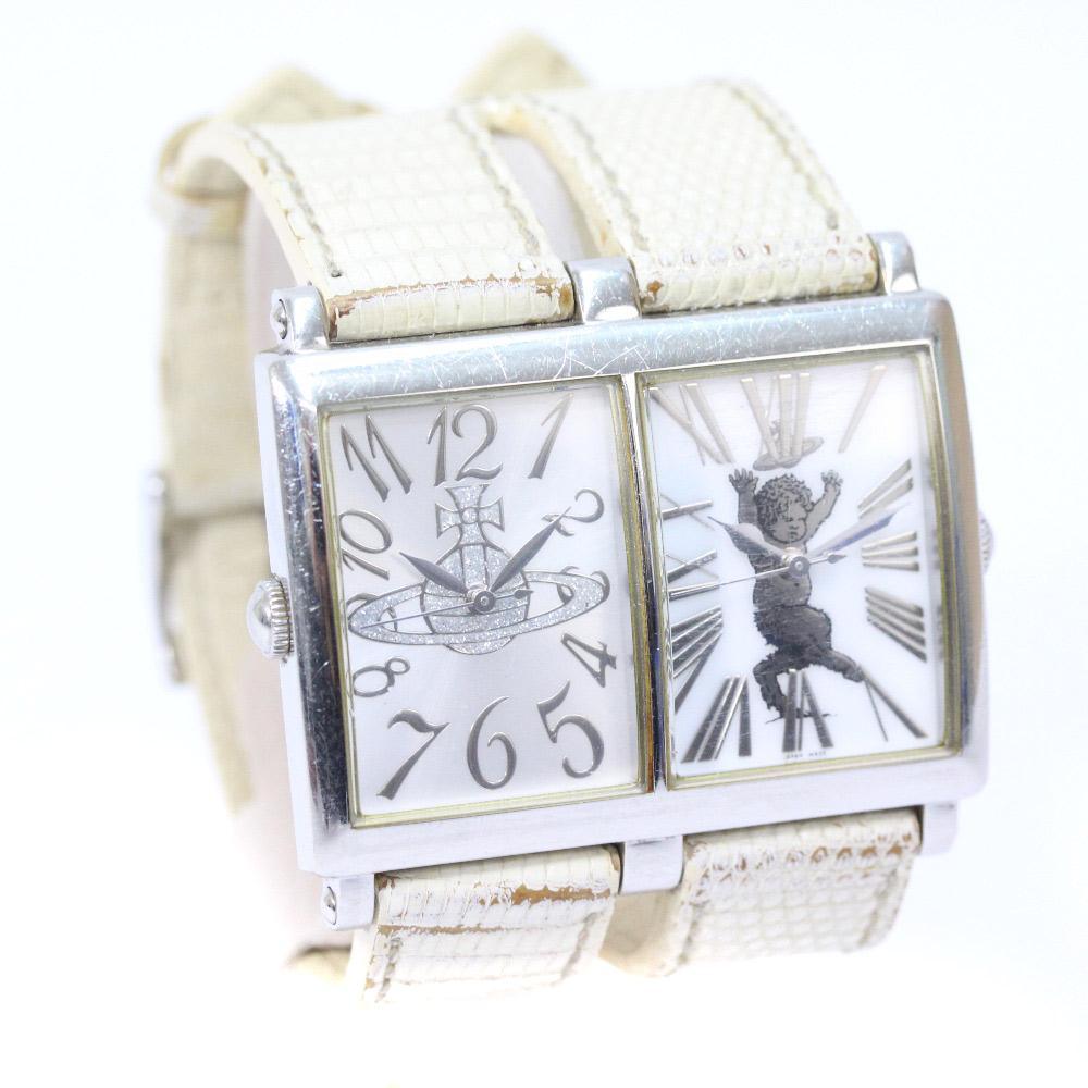 【中古】Vivienne Westwood ヴィヴィアンウエストウッド Wフェイス オーブ&サタイア 腕時計 レディース クオーツ ホワイト シルバー VW-8042