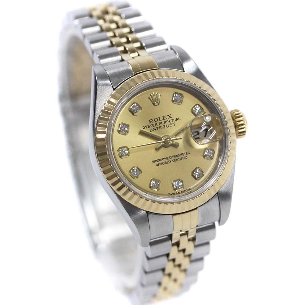 【中古】ROLEX ロレックス デイトジャスト 腕時計 レディース 自動巻き 10Pダイヤ シャンパン文字盤 SS/YG コンビ 79173G/Y番【新品仕上げ済み】
