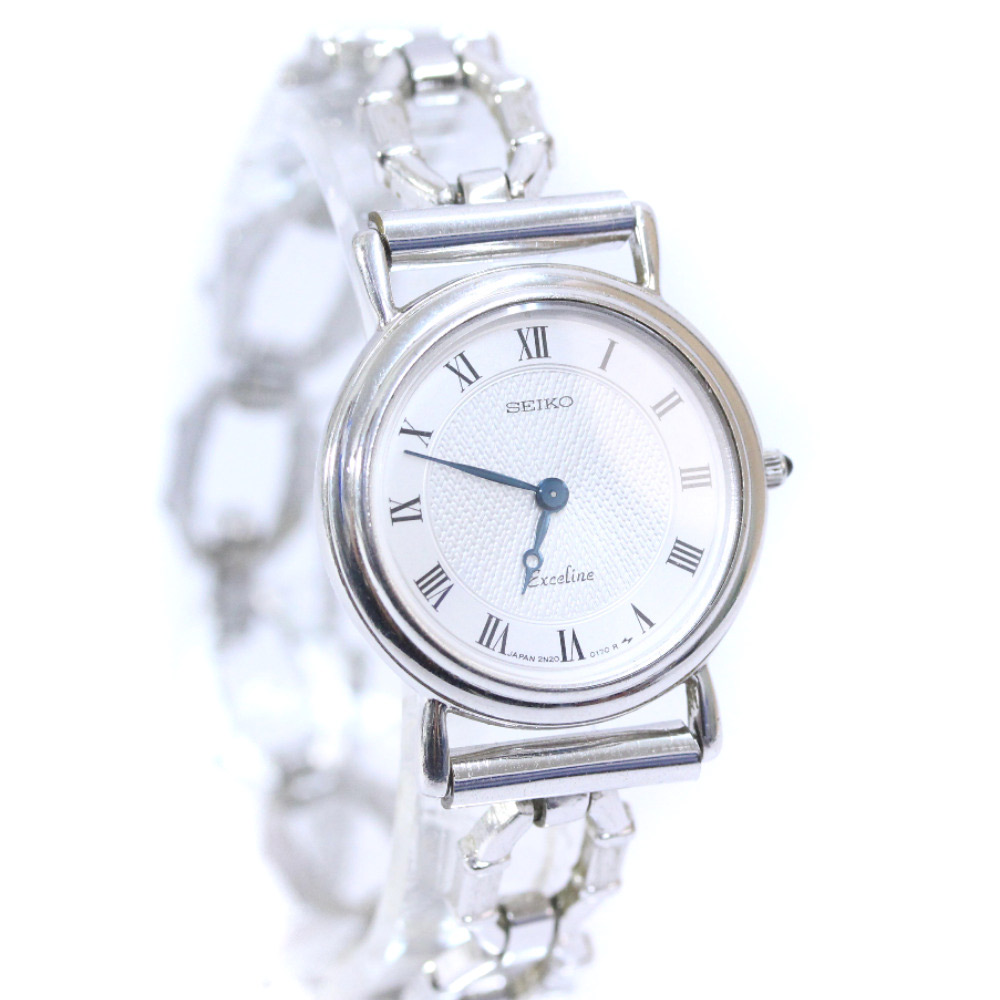 【中古】SEIKO セイコー エクセリーヌ 腕時計 レディース クオーツ シルバー 2N20