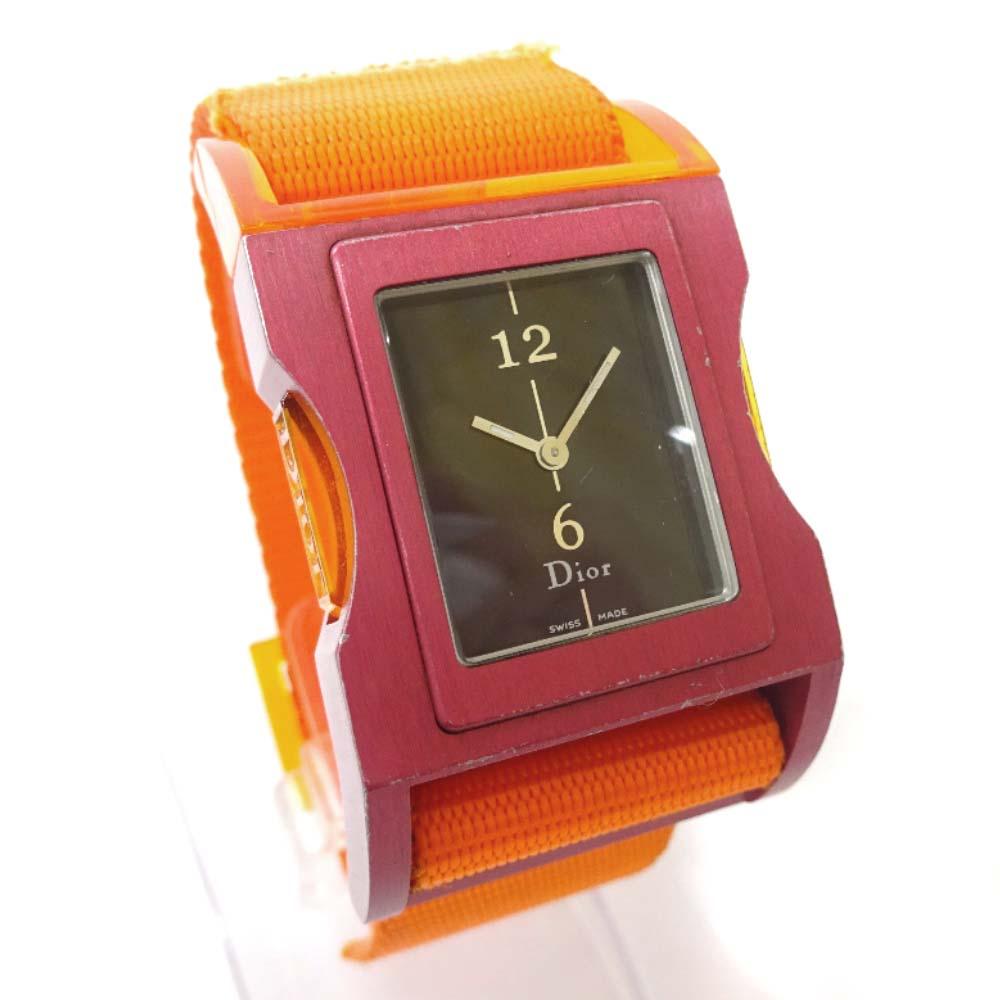 【中古】Christian Dior クリスチャンディオール クリス47 腕時計 レディース クオーツ ブラック文字盤 オレンジ パープル D100-326