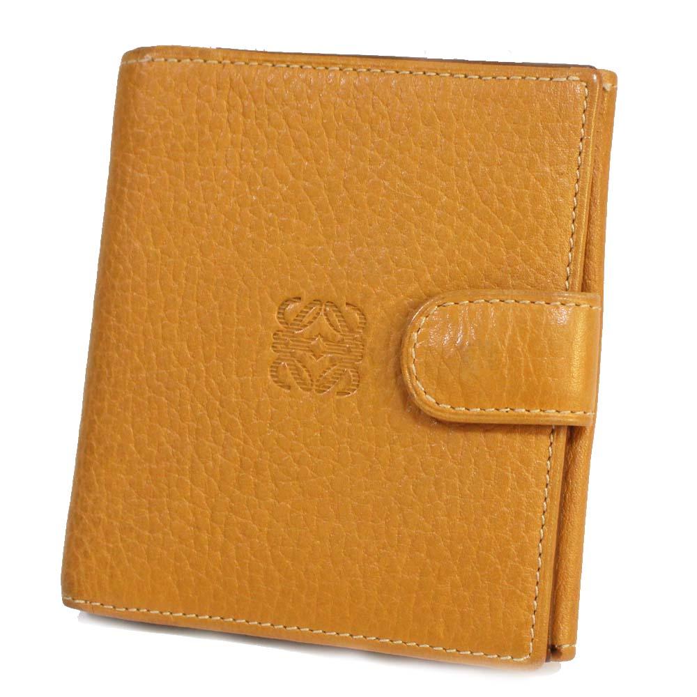 【中古】LOEWE ロエベ Wホック財布 ロゴ 二つ折り財布 ユニセックス ベージュ レザー