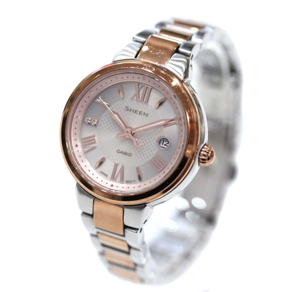 【中古】CASIO カシオ シーン 腕時計 レディース ソーラー ピンク文字盤 シルバー ピンクゴールド SHE-4516