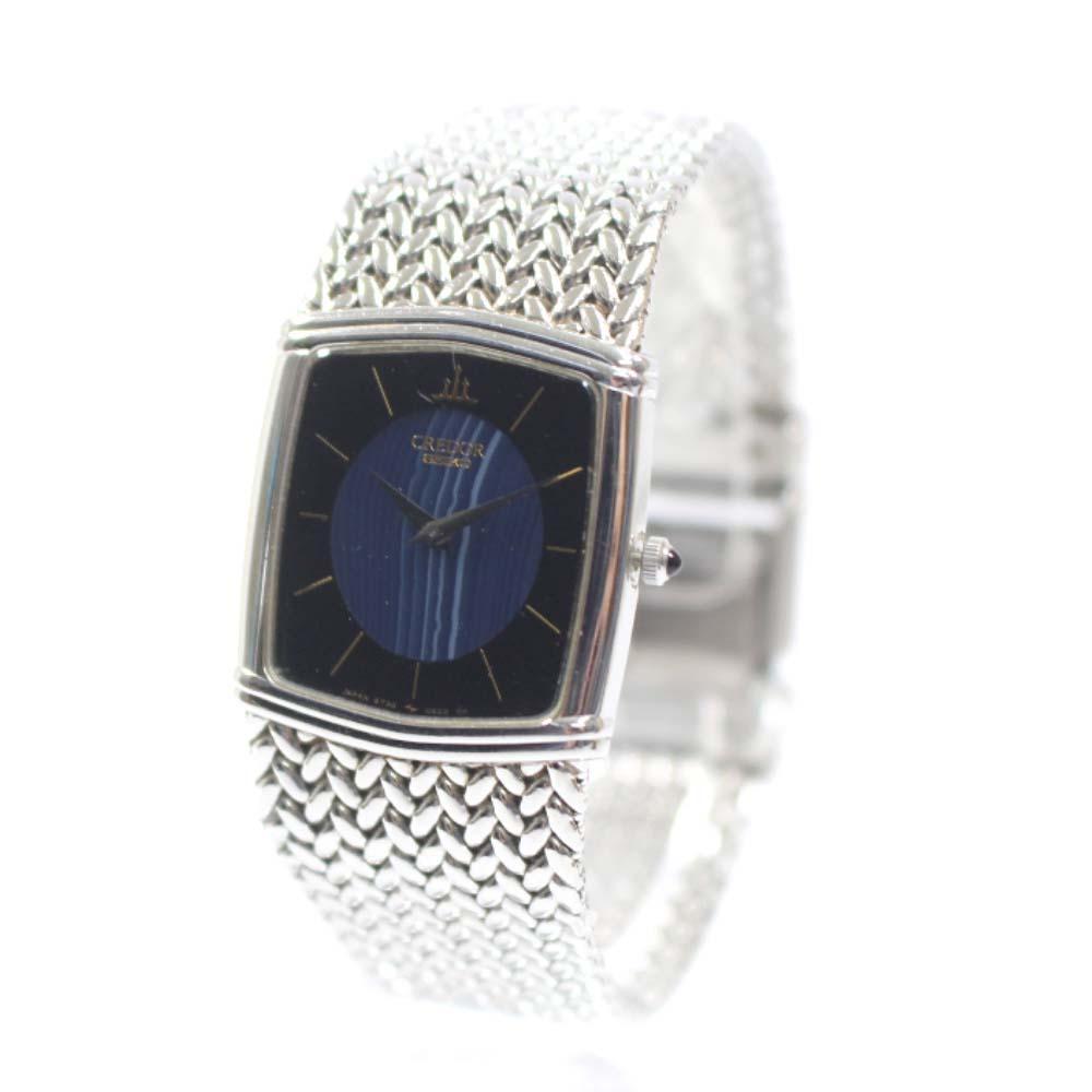 【中古】SEIKO セイコー クレドール 腕時計 レディース クオーツ シルバー ブラック ブルー 6730-5340