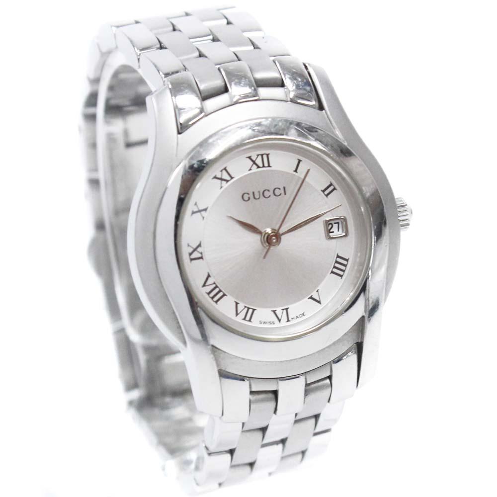 【中古】GUCCI グッチ 腕時計 レディース クオーツ ローマンインデックス シルバー文字盤 シルバー 5500L