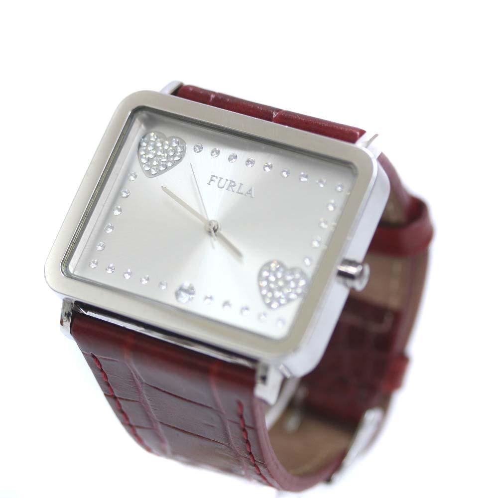 【中古】Furla フルラ レディース クォーツウォッチ 革ベルト 腕時計 レディース クオーツ シルバー文字盤 シルバー ワイン
