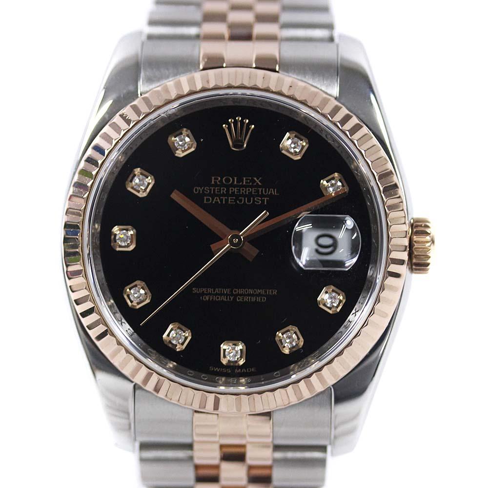 【中古】ROLEX ロレックス デイトジャスト D番 腕時計 メンズ 自動巻き ブラック文字盤 コンビ 116231G 【オーバーホール済み】【新品仕上げ済み】