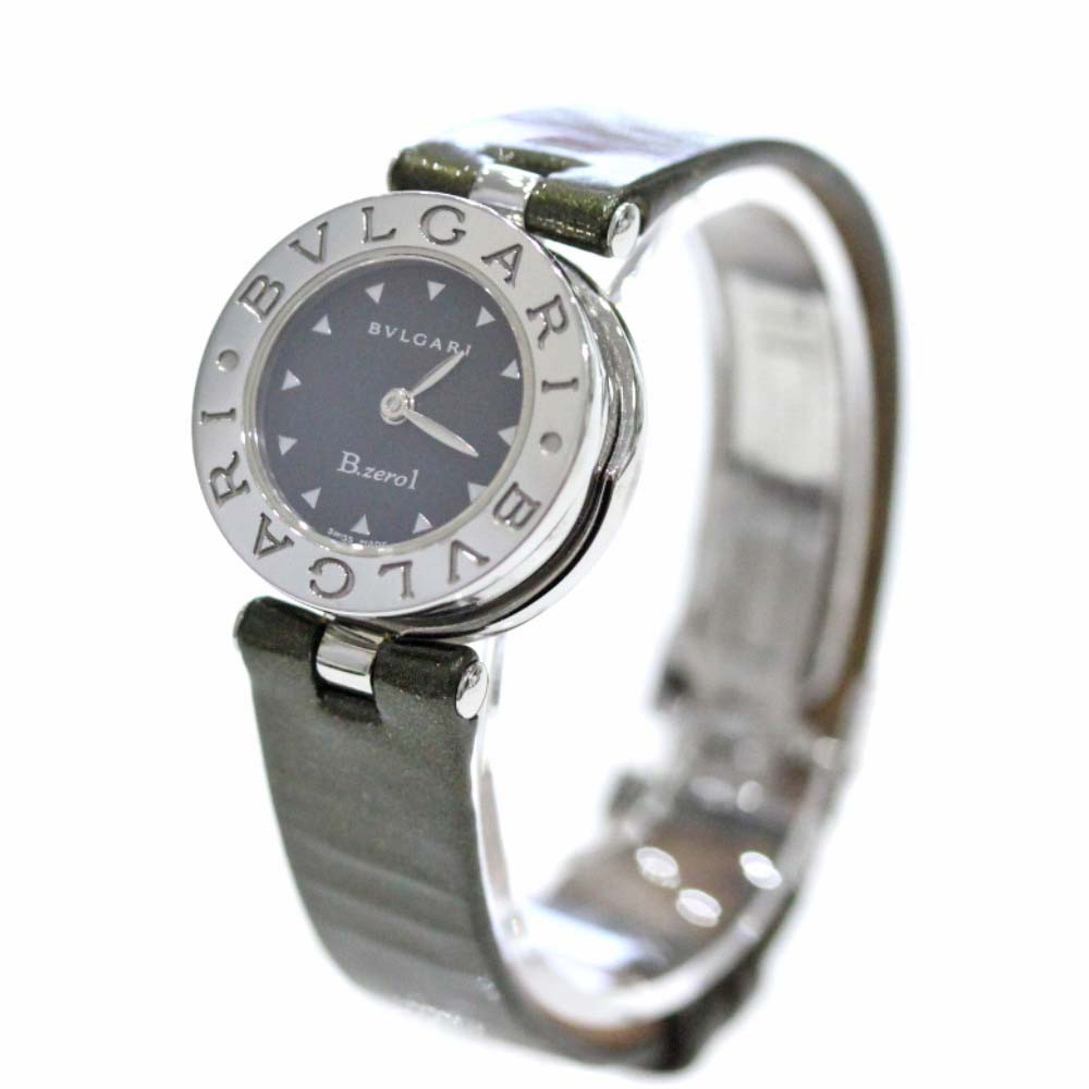 【中古】BVLGARI ブルガリ ビーゼロワン 腕時計 レディース クオーツ ブラック文字盤 グリーン系 シルバー