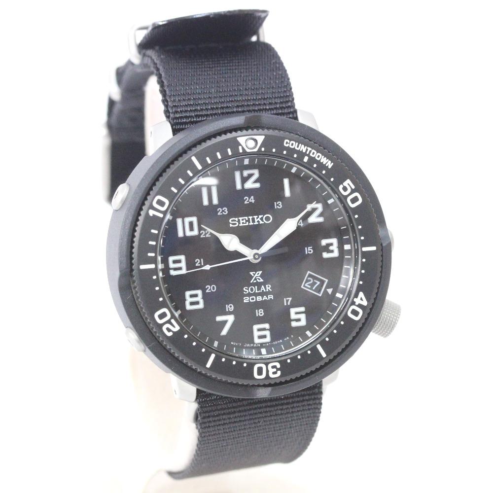 【中古】【美品】SEIKO セイコー ソーラー アナログ プロスペックス フィールドマスター 腕時計 メンズ ソーラー ブラック文字盤 ブラック V157-0CJ0