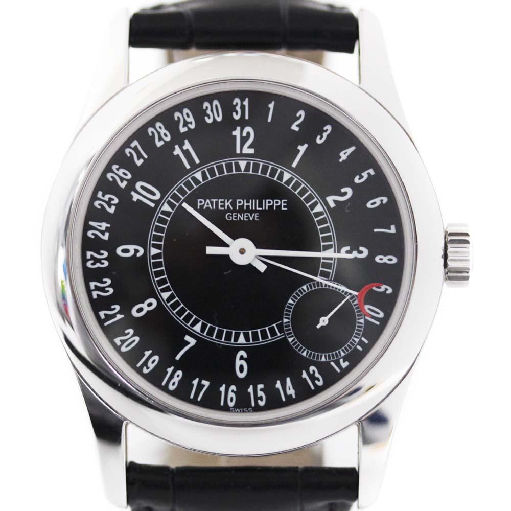 【中古】PATEK PHILIPPE パテックフィリップ カラトラバ 750WG 腕時計 メンズ 自動巻き ブラック文字盤 WG ブラック 6000G-001