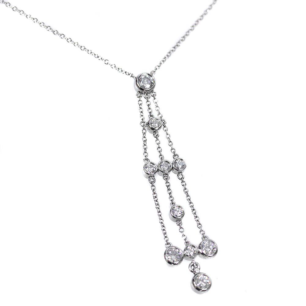 【中古】TIFFANY&Co. ティファニー PT950 10Pダイヤモンド ネックレス レディース プラチナ Pt950プラチナ