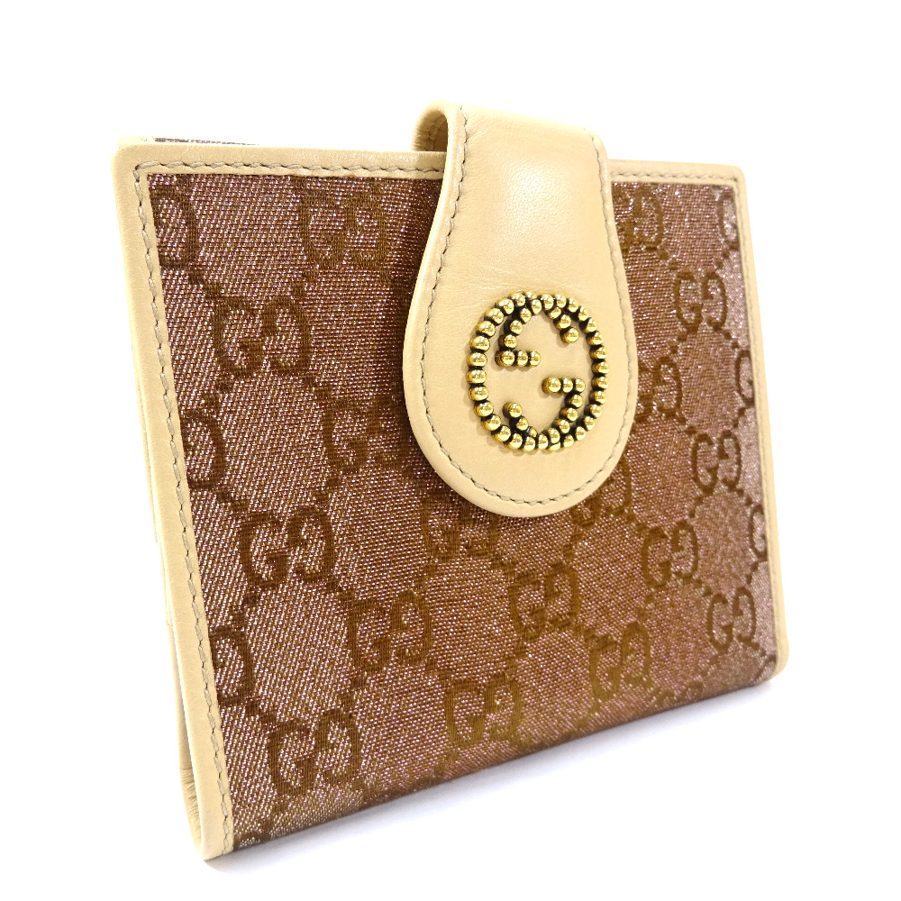 【中古】GUCCI グッチ GG Wホック ラメ 二つ折り財布 レディース パープル ブラウン GGキャンバス レザー 269975