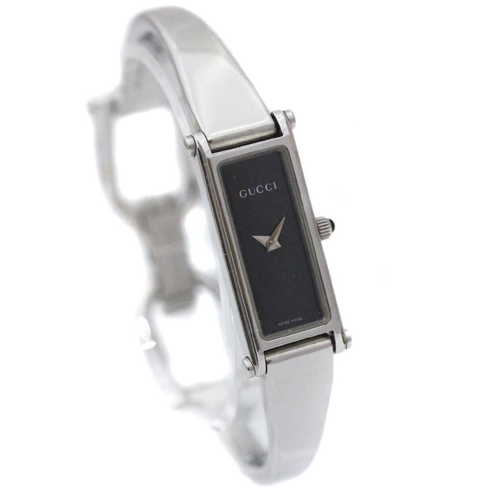 【中古】GUCCI グッチ バングルウォッチ 腕時計 レディース クオーツ ブラック文字盤 シルバー 1500L