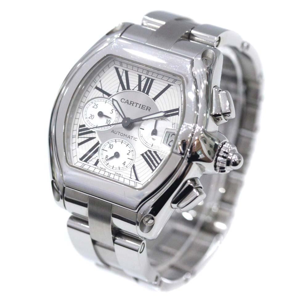 【中古】CARTIER カルティエ ロードスター クロノグラフ 腕時計 メンズ 自動巻き ホワイト文字盤 シルバー