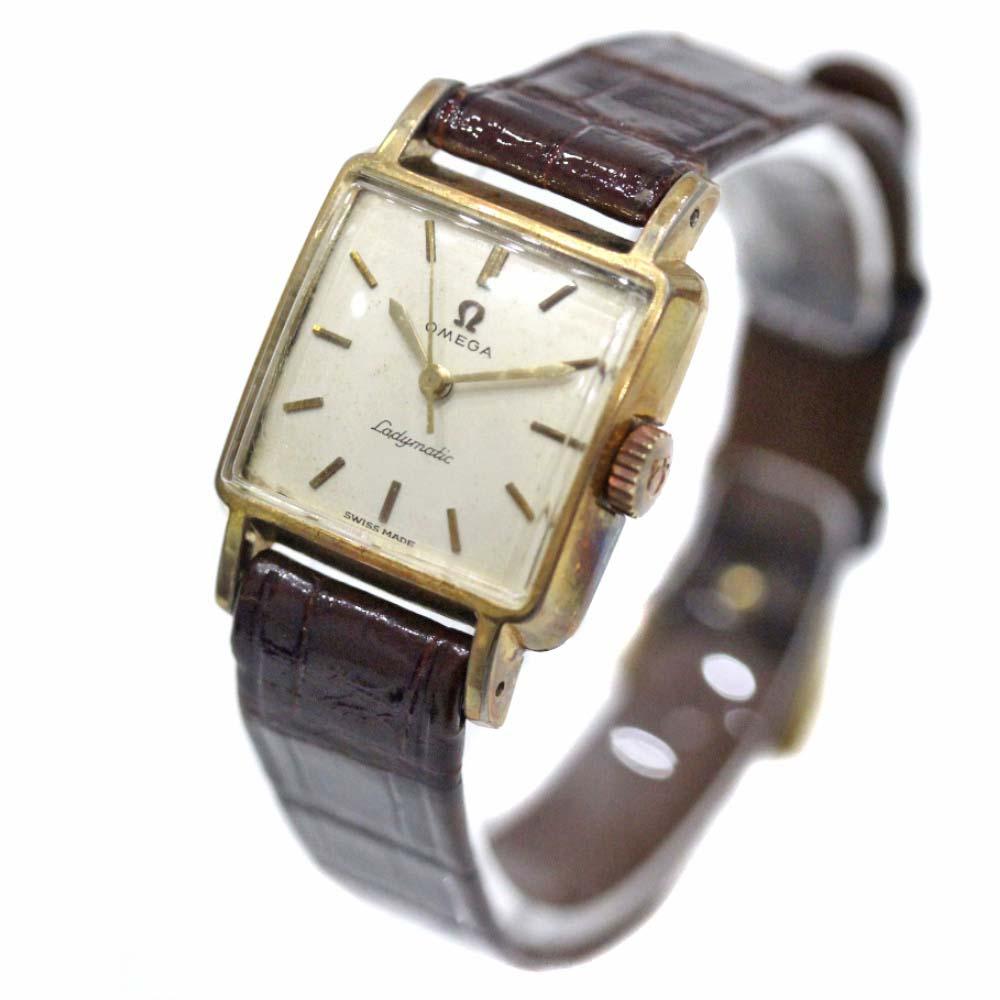【中古】OMEGA オメガ レディマティック アンティーク 腕時計 レディース 自動巻き ゴールド文字盤 ゴールド ブラウン