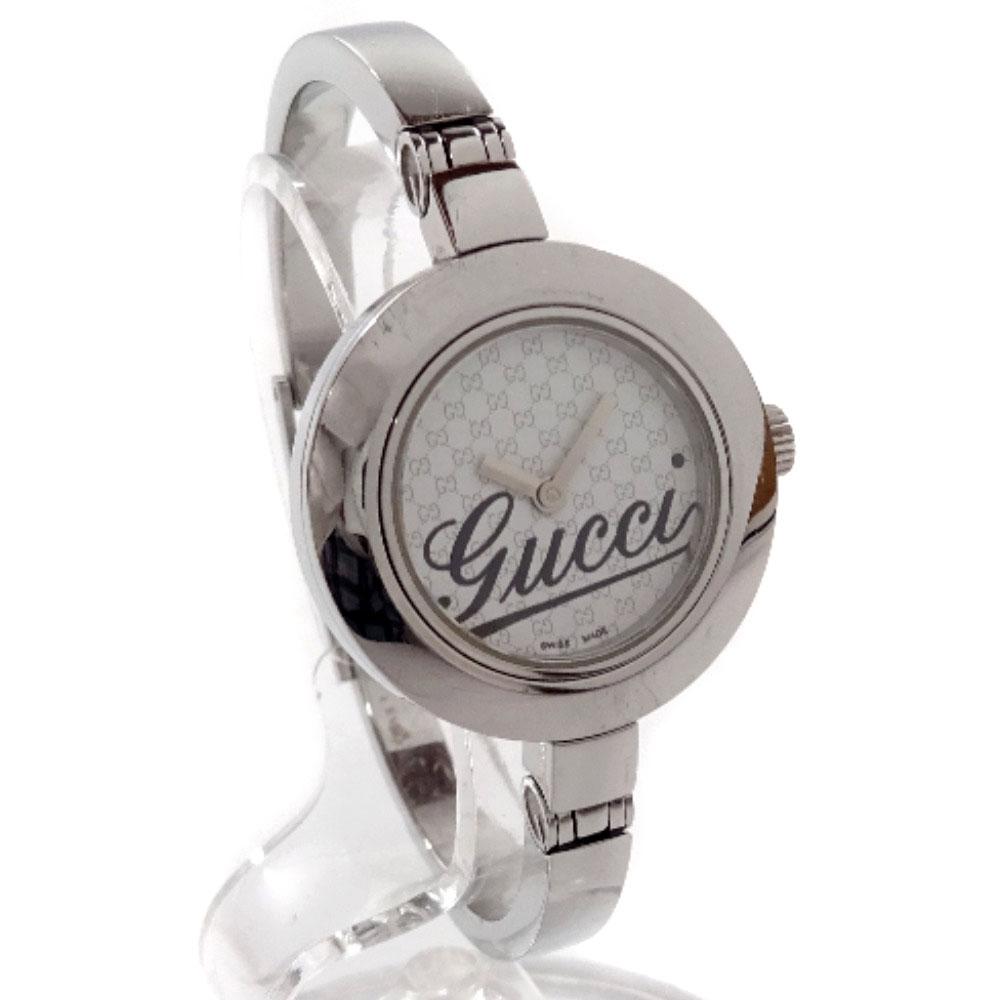 【中古】GUCCI グッチ バングル ウォッチ 腕時計 レディース クオーツ ホワイト文字盤 シルバー 105
