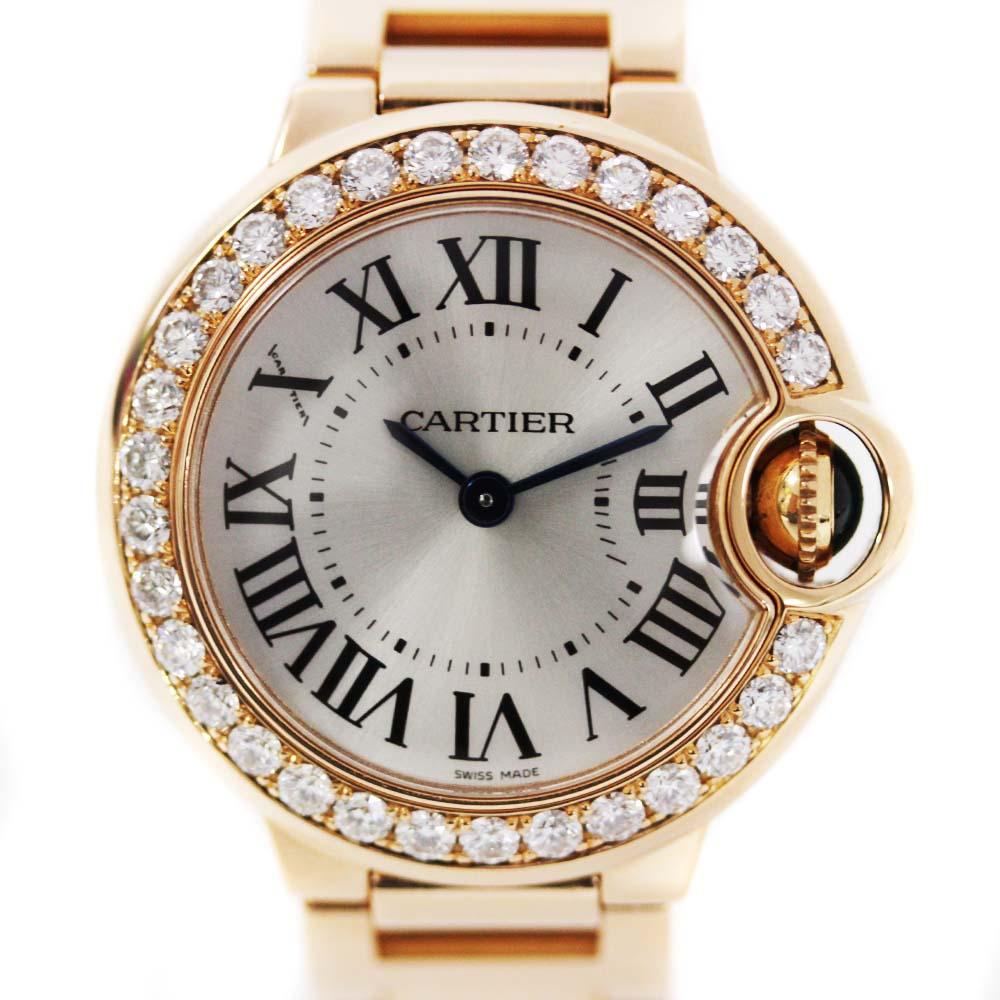 【中古】CARTIER カルティエ バロンブルーSM 金無垢 ダイヤベゼル 腕時計 レディース クオーツ シルバーオパライン文字盤 PG WE9002Z3