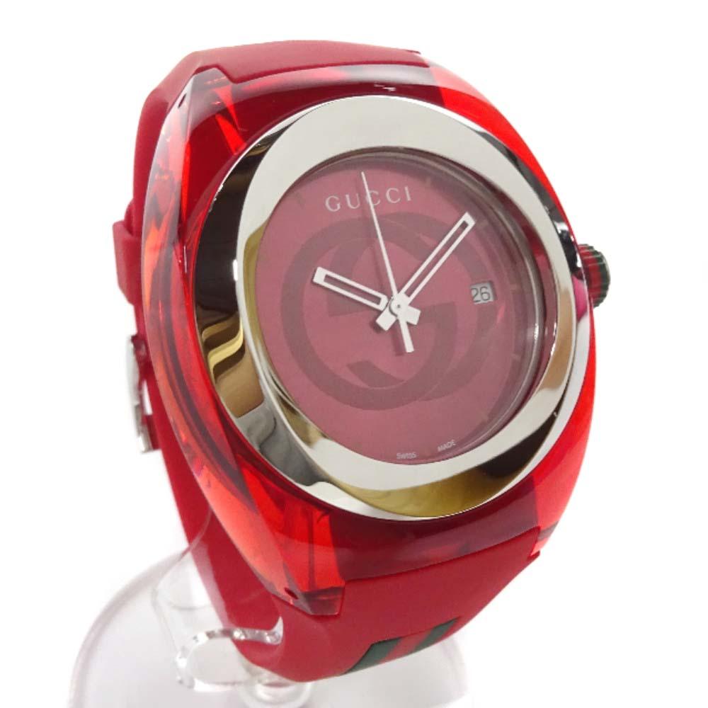 【中古】GUCCI グッチ SYNC シンク 腕時計 メンズ クオーツ レッド文字盤 レッド 137.1