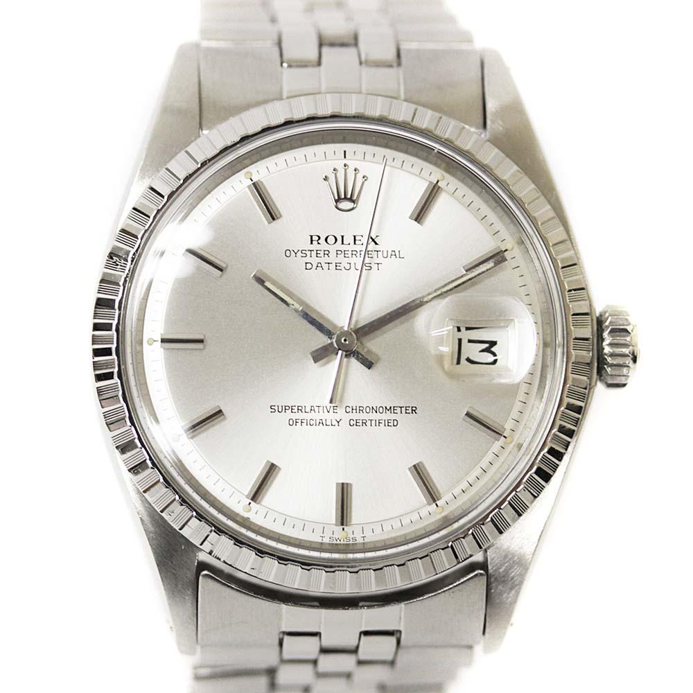 【中古】ROLEX ロレックス デイトジャスト 腕時計 メンズ 自動巻き シルバー文字盤 シルバー 1603/28番【新品仕上げ済み】