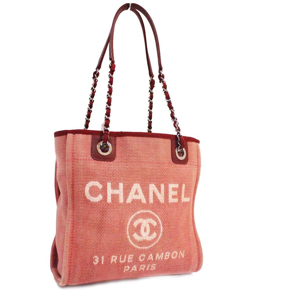 【中古】CHANEL シャネル ドーヴィルPM チェーン ショルダーバッグ レディース ピンク キャンバス レザー A66939