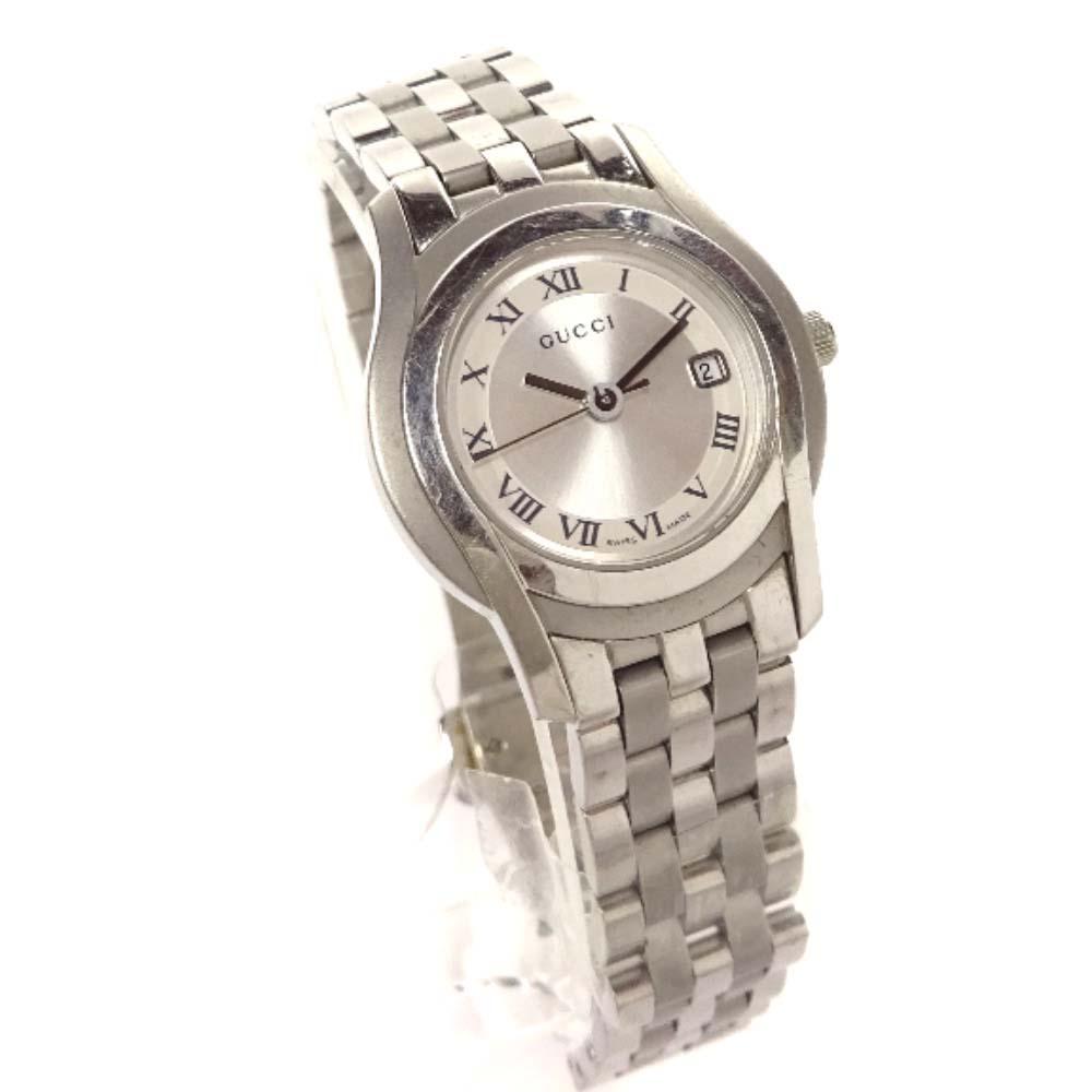 【中古】GUCCI グッチ ラウンドケース 腕時計 レディース クオーツ シルバー文字盤 シルバー 5500L