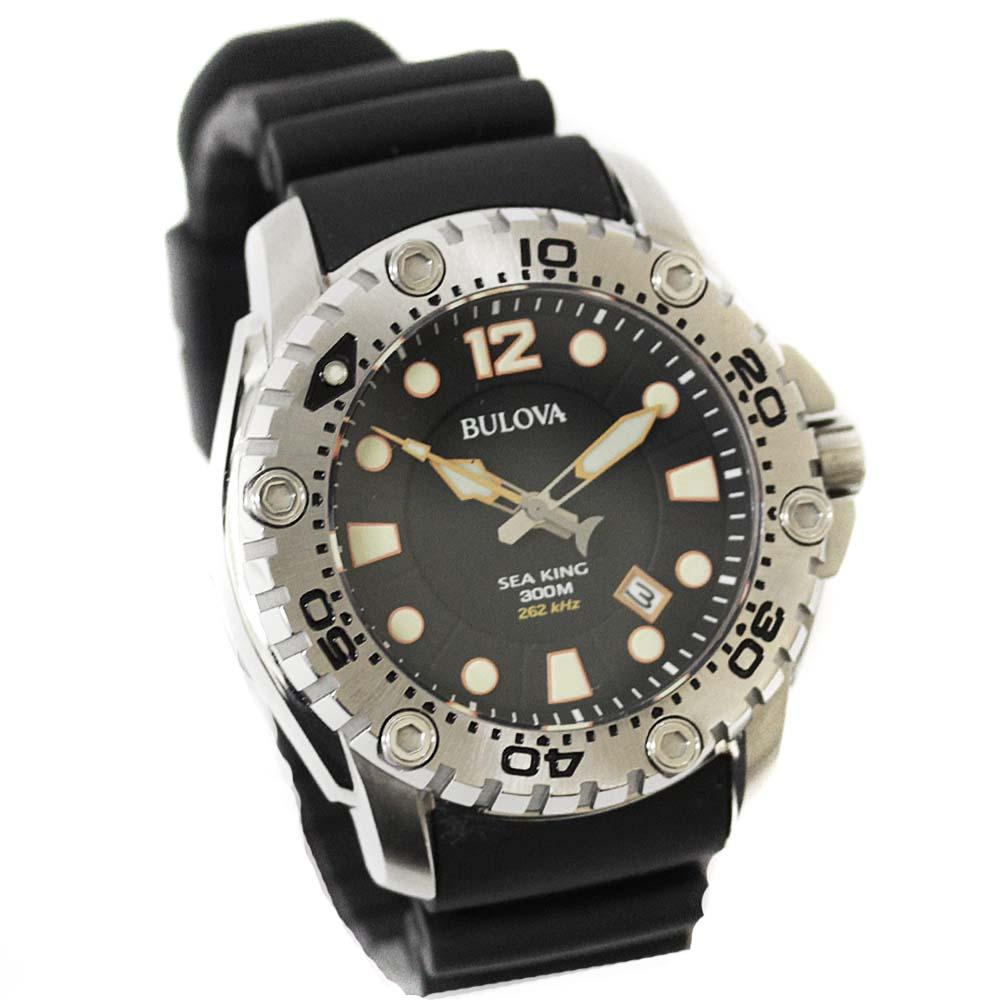 【中古】 BULOVA ブローバ シーキング 腕時計 メンズ クオーツ ブラック文字盤 シルバー ブラック 96B228