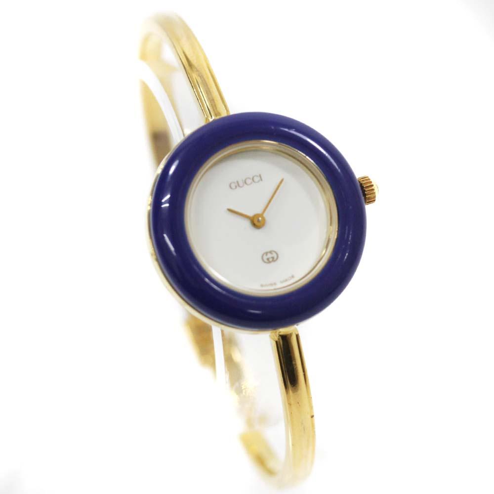 【中古】GUCCI グッチ チェンジベゼル バングルウォッチ 腕時計 レディース クオーツ ホワイト文字盤 ゴールド ブルー 1100L