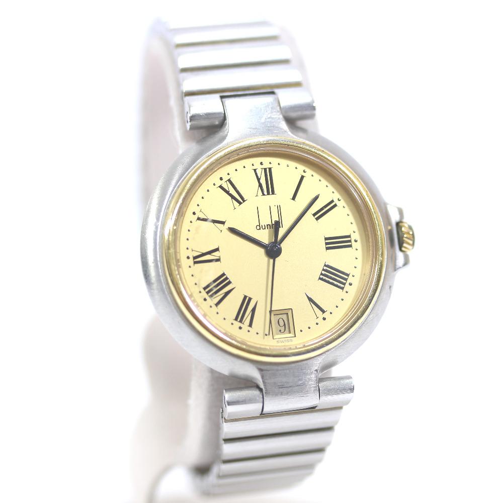 【中古】Dunhill ダンヒル ミレニアム 腕時計 レディース クオーツ ゴールド文字盤 ゴールド シルバー