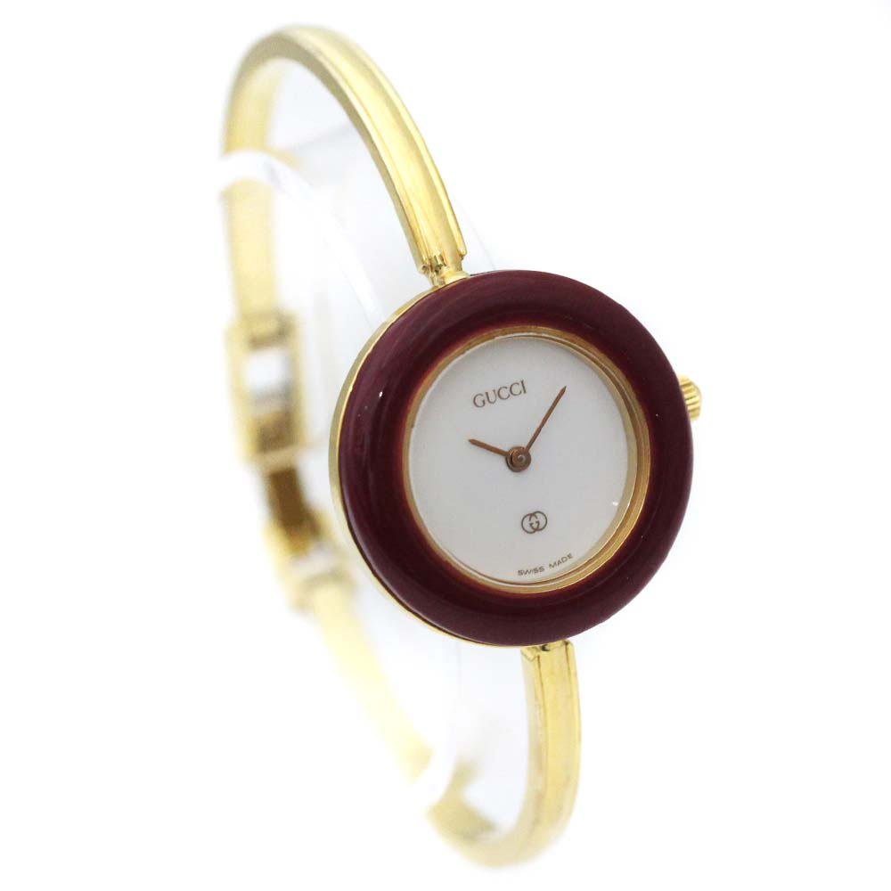 【中古】GUCCI グッチ チェンジベゼル バングルウォッチ 腕時計 レディース クオーツ ホワイト文字盤 ゴールド 1100-L