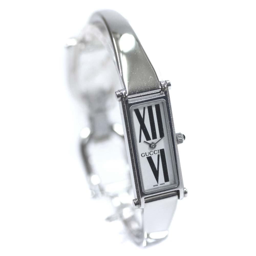 【中古】GUCCI グッチ バングルウォッチ ローマ 腕時計 レディース クオーツ ホワイト / ブラック文字盤 シルバー ホワイト 1500L