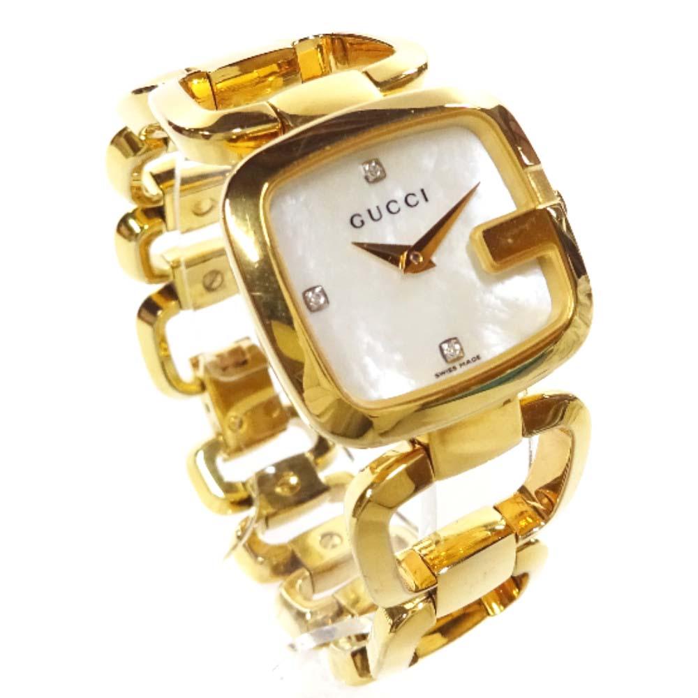【中古】GUCCI グッチ 3Pダイヤ   腕時計 レディース クオーツ ホワイトシェル文字盤 ゴールド 125.5