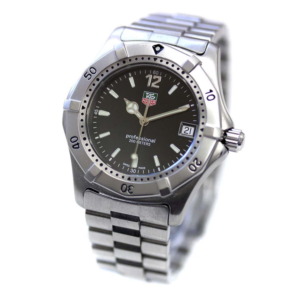 【中古】TAG HEUER タグホイヤー プロフェッショナル 2000シリーズ 腕時計 メンズ クオーツ ブラック文字盤 シルバー