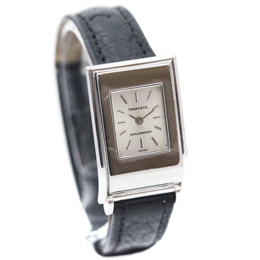 【中古】TIFFANY&Co. ティファニー シュランバーゼ ヴィンテージ 腕時計 レディース クオーツ シルバー文字盤 K18WG ブラック