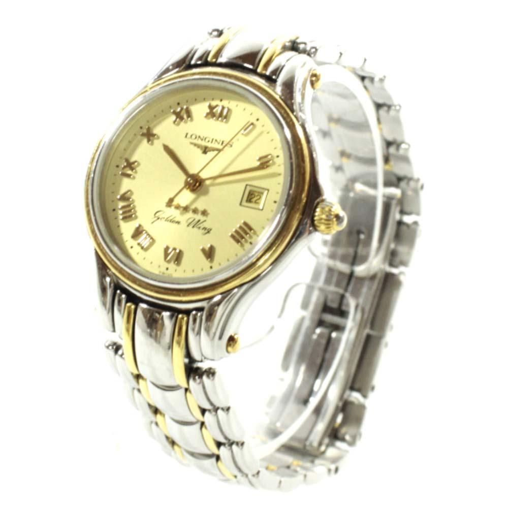 【中古】LONGINES ロンジン コンクエスト 腕時計 レディース クオーツ ゴールド文字盤 シルバー ゴールド L1.614.3