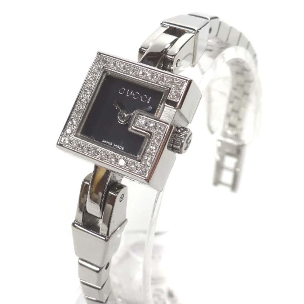 【中古】GUCCI グッチ Gミニダイヤベゼル 腕時計 レディース クオーツ ブラック文字盤 シルバー YA102540