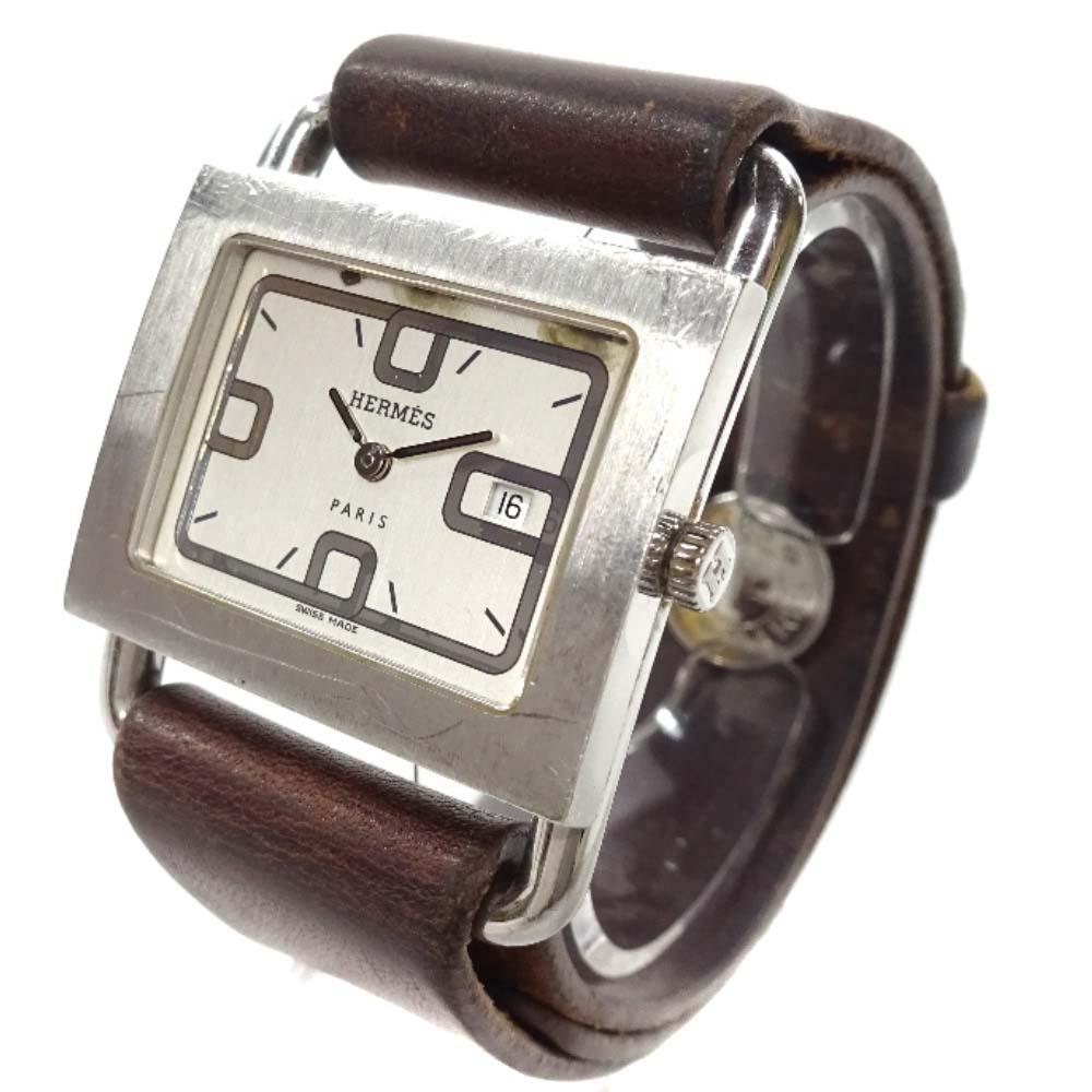 【中古】HERMES エルメス バレニア 腕時計 レディース クオーツ ホワイト文字盤 シルバー ブラウン
