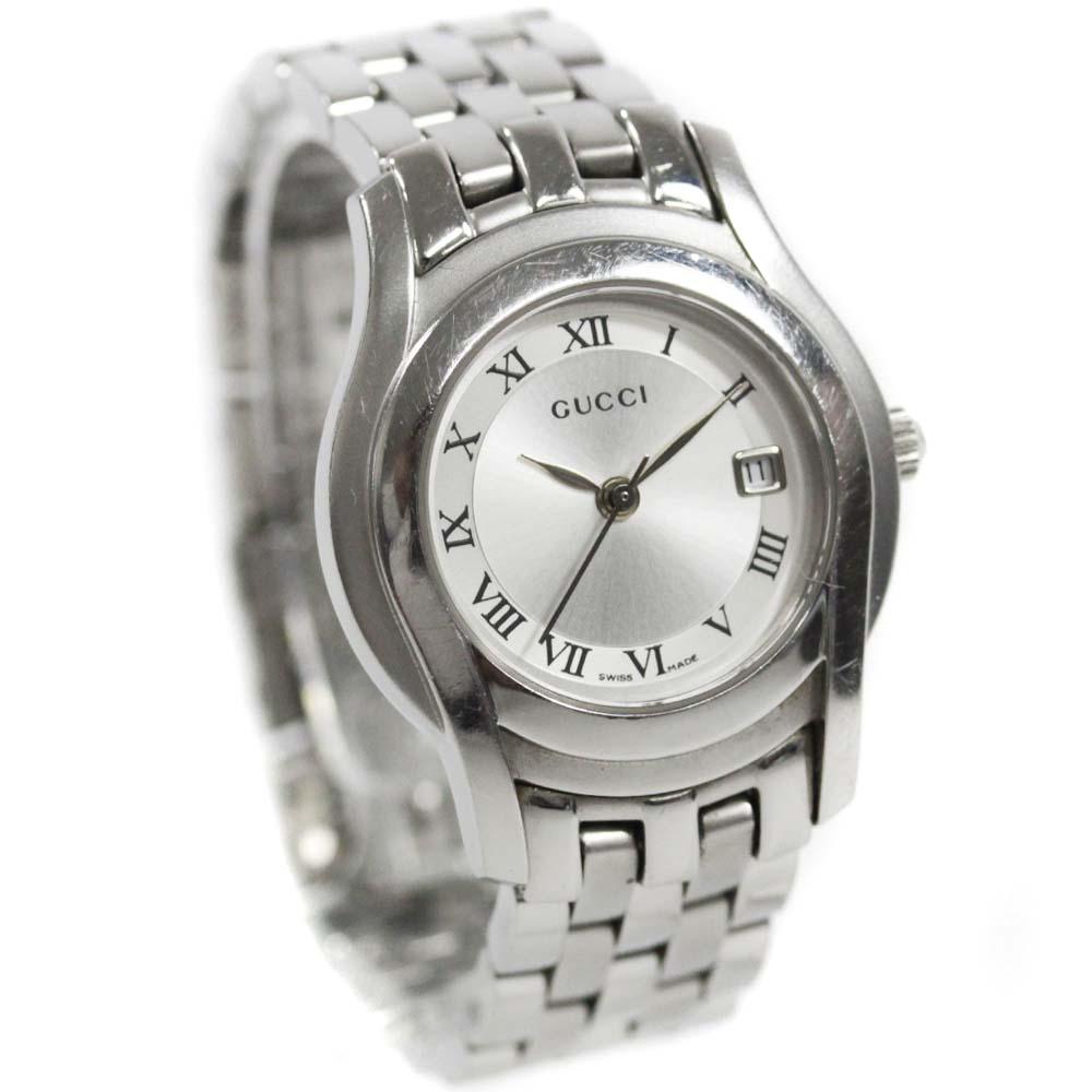 【中古】GUCCI グッチ 腕時計 レディース クオーツ ローマ・シルバー文字盤 シルバー 5500L