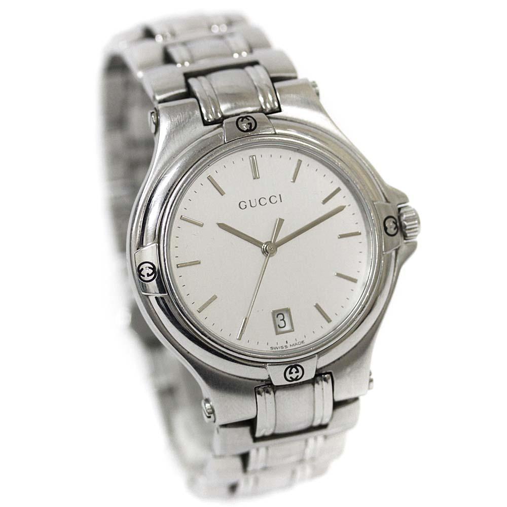 【中古】GUCCI グッチ 9040M ラウンドフェイス 腕時計 メンズ クオーツ シルバー文字盤 シルバー YA090318