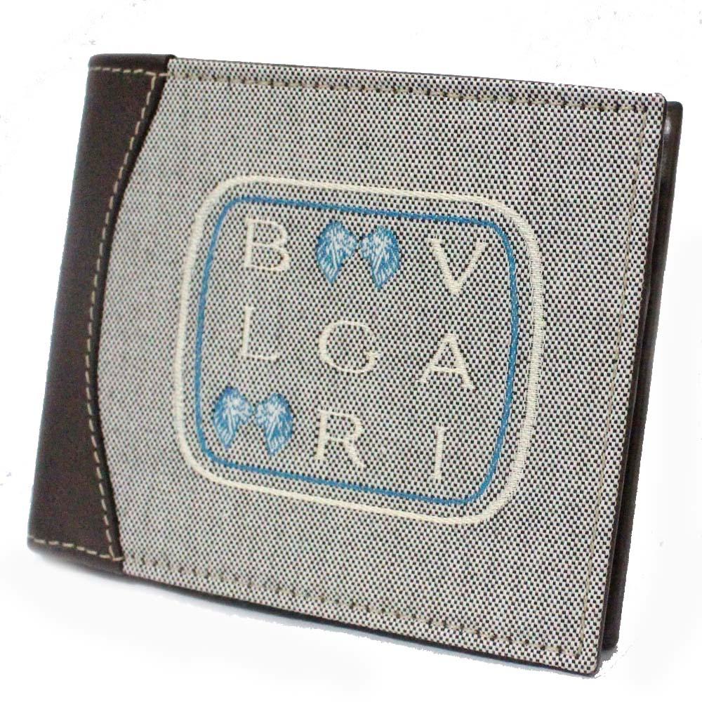 【中古】【未使用品】BVLGARI ブルガリ レオーニ 札入れ メンズ グレー ブラウン キャンバス レザー