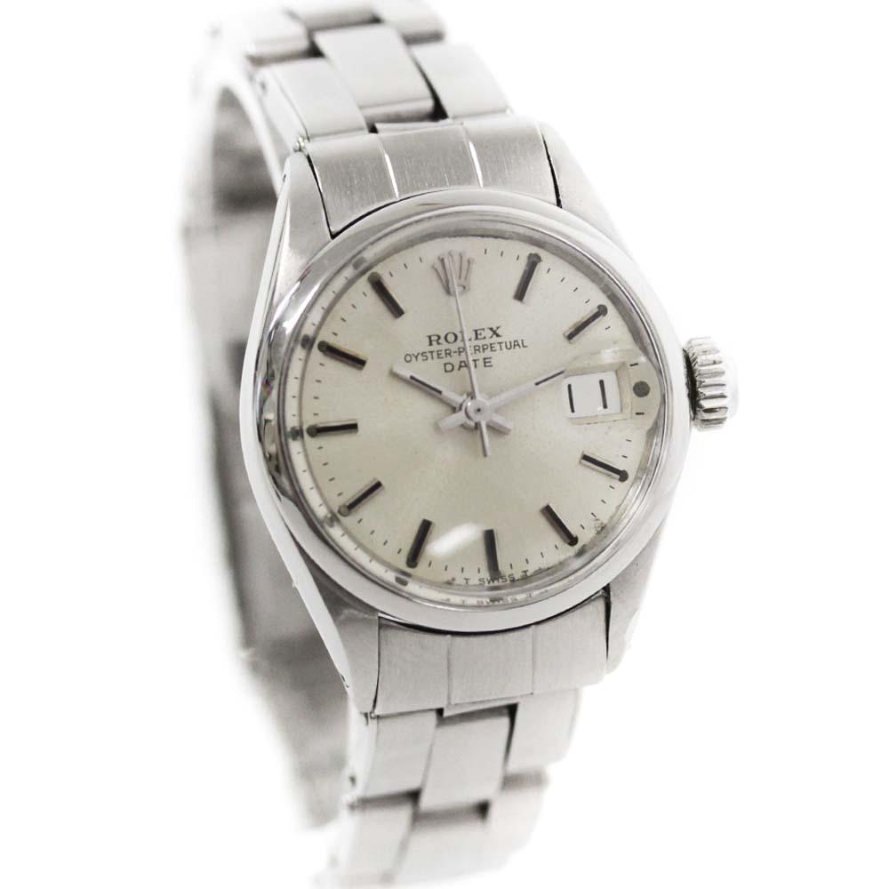【中古】ROLEX ロレックス オイスターパーペチュアルデイト アンティーク 腕時計 レディース 自動巻き シルバー文字盤 シルバー Ref.6516 26番【オーバーホール済み】【新品仕上げ済み】