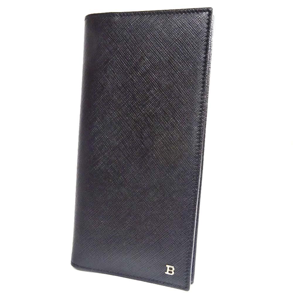 【中古】【美品】BALLY バリー Bロゴ 二つ折り 長財布 メンズ ブラック 型押しレザー