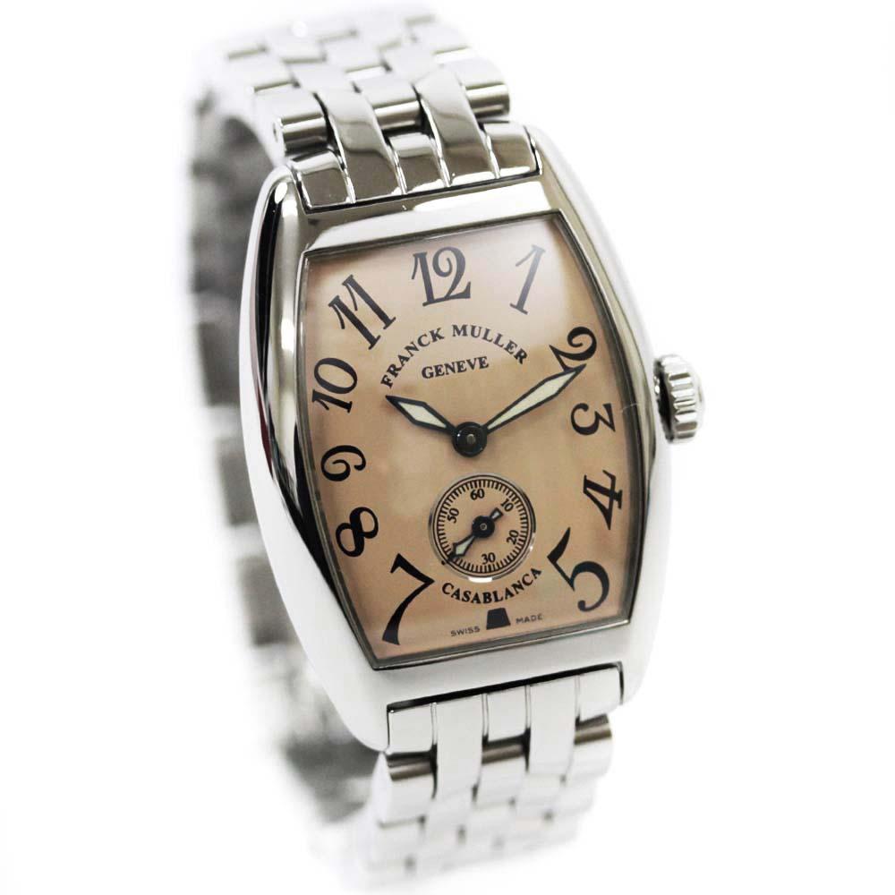 【中古】FRANCK MULLER フランクミュラー カサブランカ 腕時計 レディース 手巻き サーモンピンク文字盤 シルバー Ref.1750S6