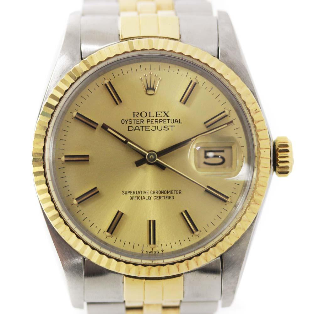 【中古】ROLEX ロレックス デイトジャスト 腕時計 メンズ 自動巻き シャンパン文字盤 SS/YG コンビ ref.16013 82番