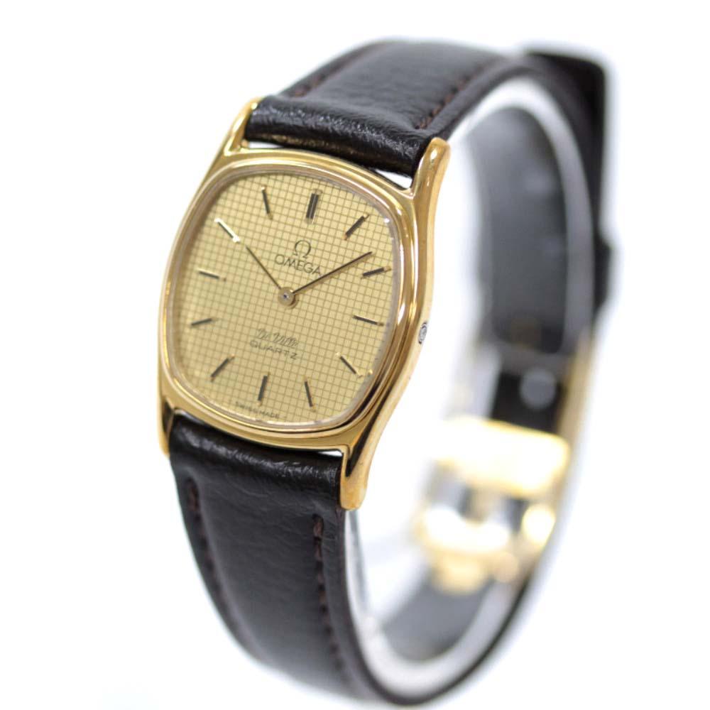 【中古】OMEGA オメガ デビル プッシュリューズ 腕時計 レディース クオーツ ゴールド ブラウン