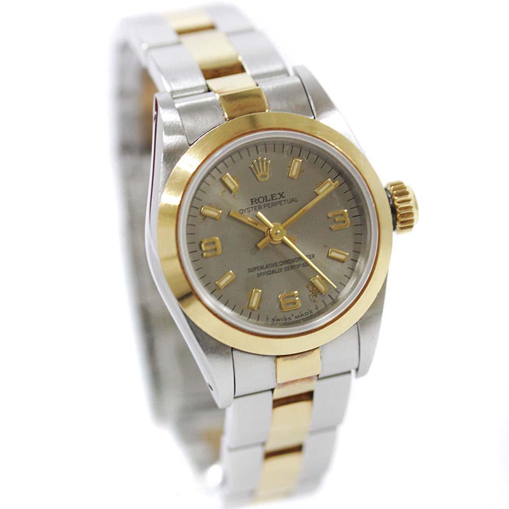 【中古】ROLEX ロレックス オイスター パーペチュアル 腕時計 レディース 自動巻き グレー文字盤 SS/YG コンビ 67183 N番