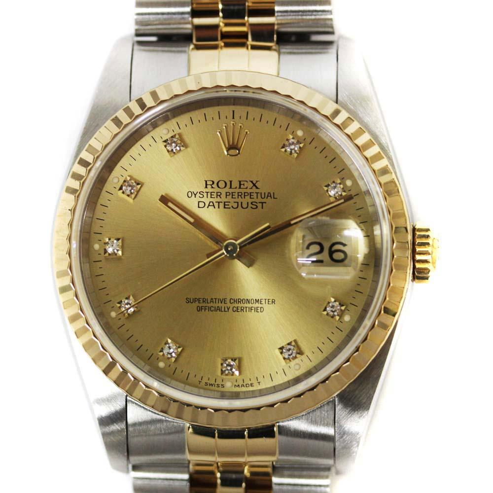 【中古】ROLEX ロレックス デイトジャスト 10Pダイヤ 腕時計 メンズ 自動巻き シャンパン文字盤 コンビ Ref.16233G X番【新品仕上げ済み】