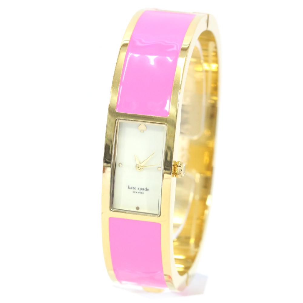 【中古】Kate Spade ケイトスペード カルーセル バングルウォッチ 腕時計 レディース クオーツ ホワイト文字盤 ピンク ゴールド ショッキングピンク