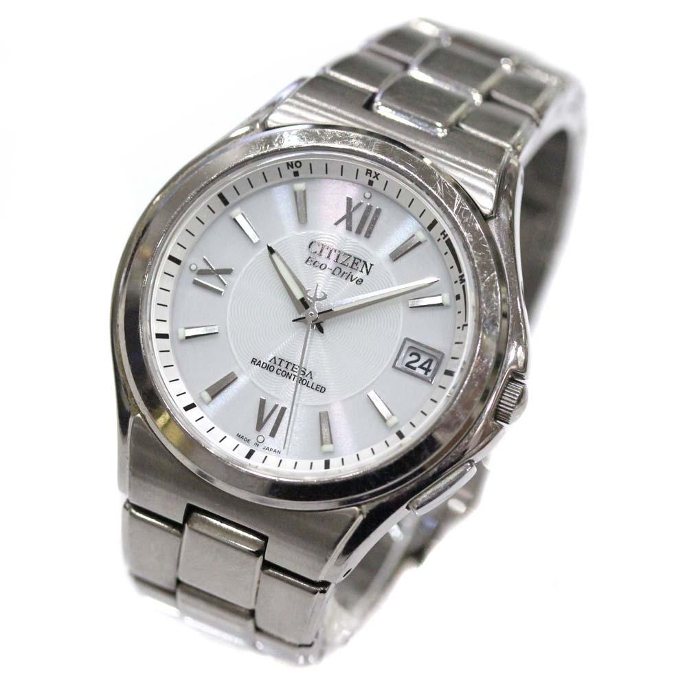 【中古】CITIZEN シチズン アテッサ エコドライブ 腕時計 メンズ ソーラー電波時計 ホワイト文字盤 シルバー